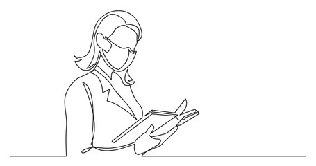 Wall Mural - continuous line drawing of business woman reading book wearing face mask