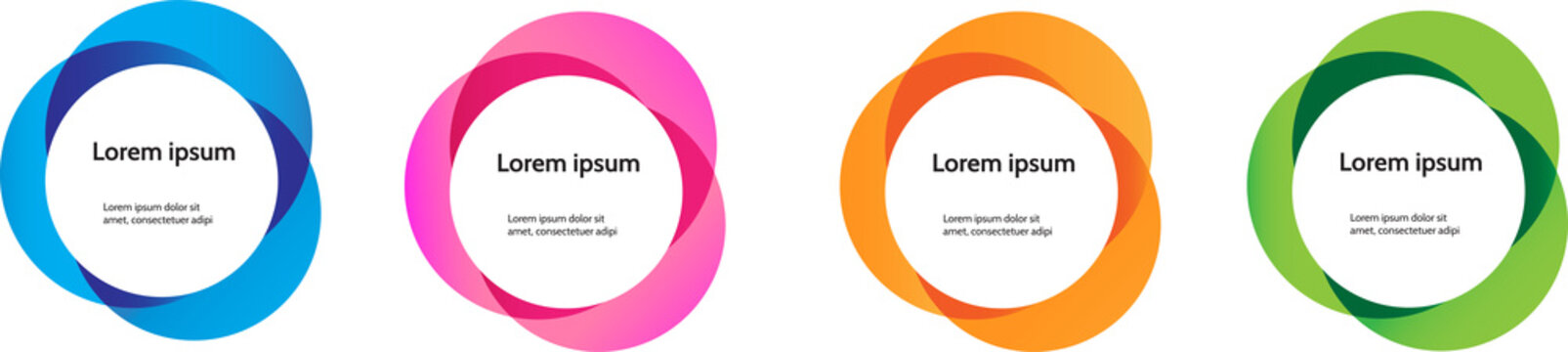 Blue, pink, orange, green color infographic circle process set of 4. template for presentation. Creative concept for infographic.