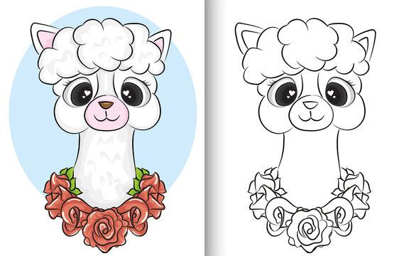 Coloring book llama. cute cartoon doodle llama character vector design.