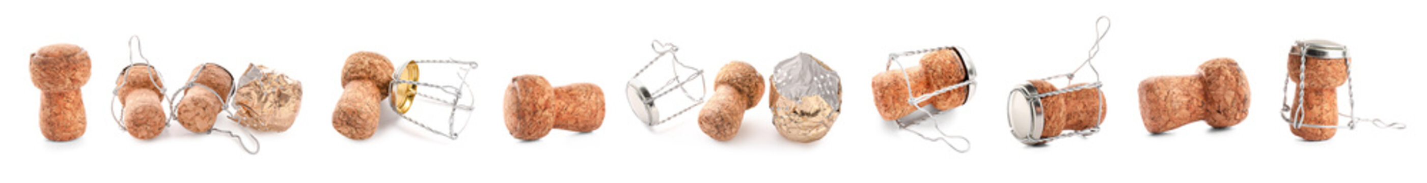 Many champagne corks on white background