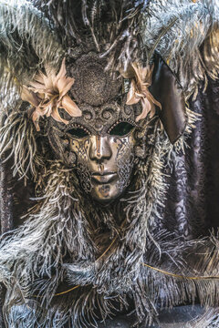 Silver Venetian Mask Feathers Venice Italy