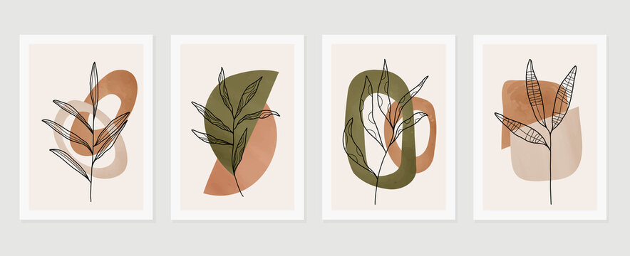 Botanical watercolor wall art vector set. Earth tone background foliage line art drawing with abstract shape.  Abstract Plant Art design for wall framed prints, canvas prints, poster, home decor.
