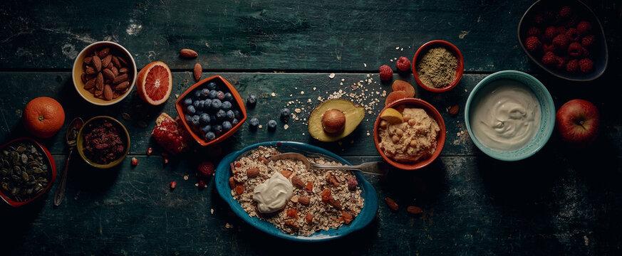 Healthy breakfast food on rustic table