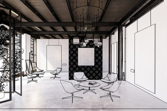Project of a contemporary art & exibition gallery (illustration)  - 3d visualization