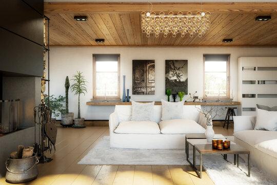 Modern Home Loft Interior  - 3d visualization