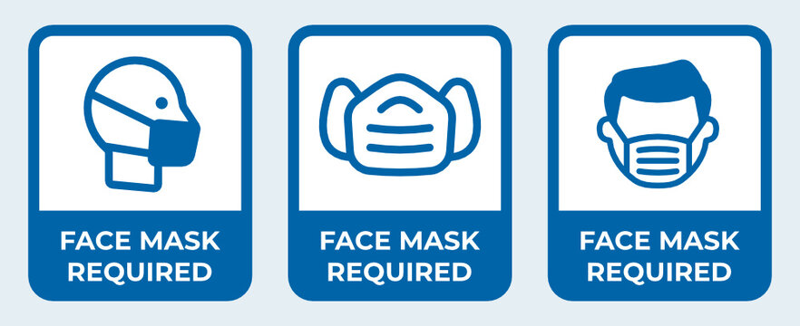 Face mask required sign, covid-19 face protection vector