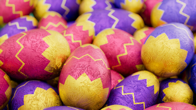 Multicolored, foil wrapped Easter Egg background. Beautiful Easter Wallpaper with, patterned Yellow, Pink and Purple Eggs. 3D Render