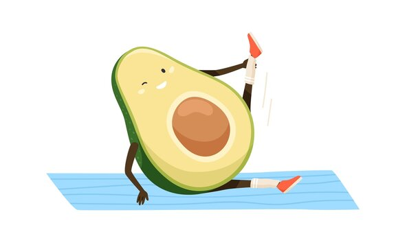 Cute and funny avocado doing sports exercises on yoga mat. Workout of happy fat fruit. Colored flat cartoon vector illustration of working out childish character isolated on white background