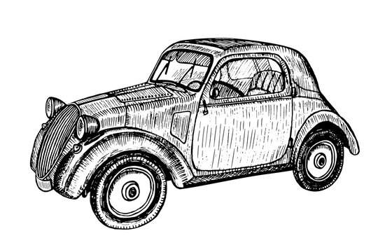 Hand drawn vector tracing vintage retro classic car, doodle sketch graphics monochrome illustration on white background