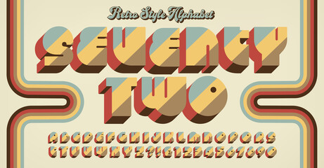 Seventy Two is a retro 1970s style alphabet design with a groovy vibe.