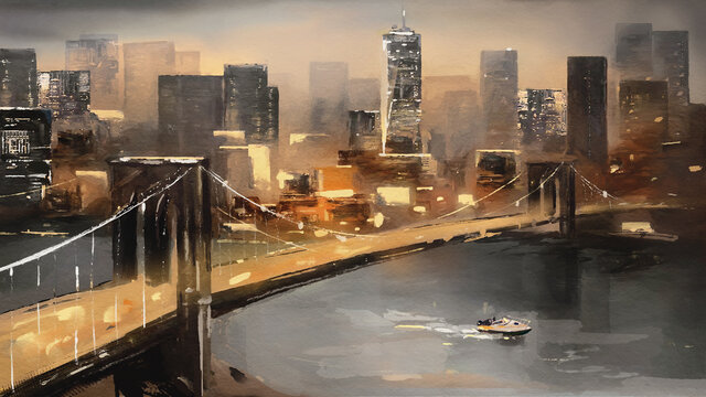 oil painting on canvas - view of New York, river and bridge. modern abstract Artwork, Painting American city, urban illustration