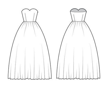 Crinoline dress technical fashion illustration with strapless sweetheart neckline, long floor length, full skirt. Flat apparel template front, back, white color style. Women, men unisex CAD mockup
