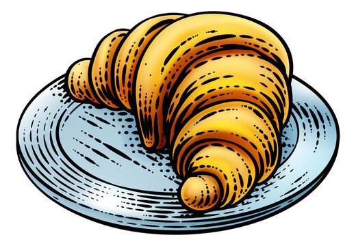 Croissant pastry bread food drawing illustration in a retro vintage engraved woodcut style