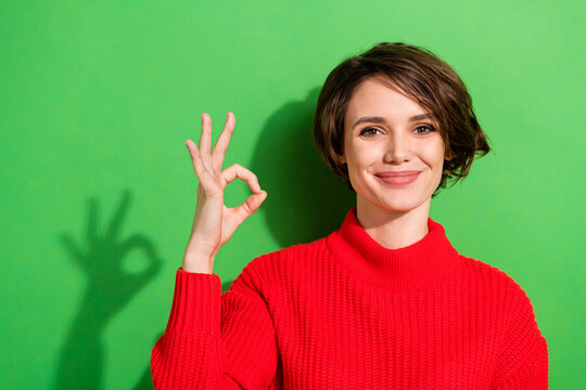 Photo of optimistic nice brunette hairdo lady show okey wear red sweater isolated on bright green color background