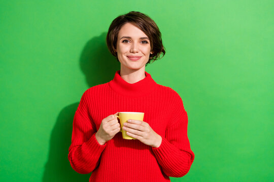 Photo of optimistic nice brunette hairdo lady hold cup wear red sweater isolated on bright green color background