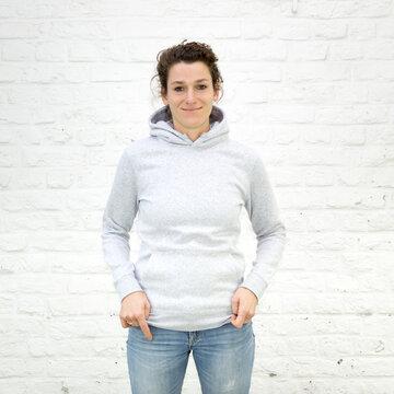 Blanko Kapuzenweater grau-meliert - No1 - Hoodie - Vorlage auf weißem Grund für Online-Shop