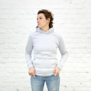Blanko Kapuzenweater grau-meliert - No2 - Hoodie - Vorlage auf weißem Grund für Online-Shop