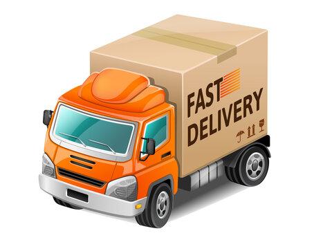 Orange fast delivery truck. Vector Illustration.