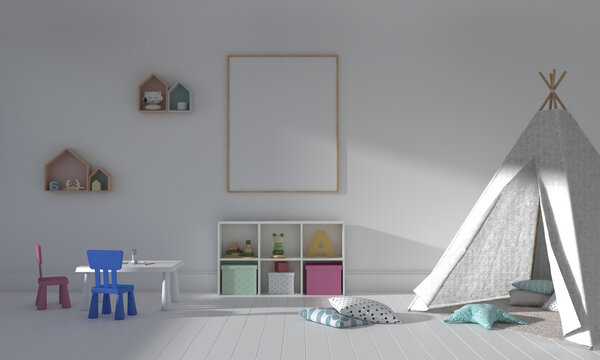 3D rendering of the interior of a modern kids bedroom with a teepee tent and empty frames