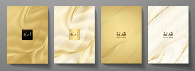 Fototapeta Modern cover design set. Gold abstract line pattern (guilloche curves) in premium gold color. Luxury golden stripe vector layout for business background, certificate, brochure template obraz