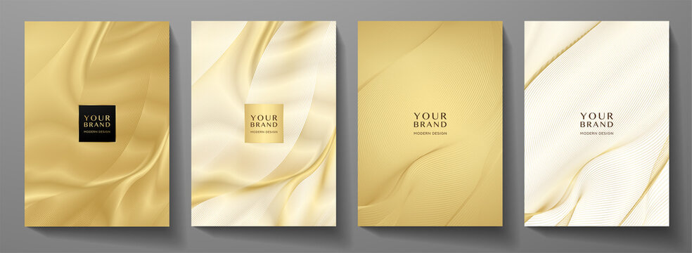 Modern cover design set. Gold abstract line pattern (guilloche curves) in premium gold color. Luxury golden stripe vector layout for business background, certificate, brochure template