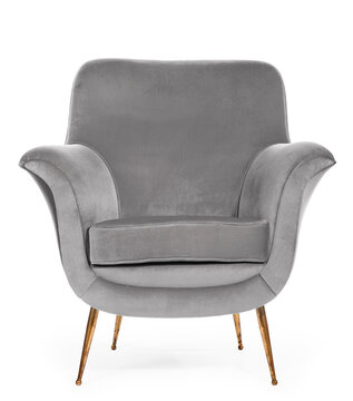 Old retro sixties style chair grey material upholstery