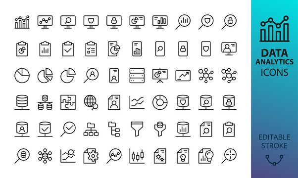 Data analytics and statistics isolated icon set. Set of research marketing, personal information, business presentation, database network, pie chart, bar graph, mind map, data analysis vector icons
