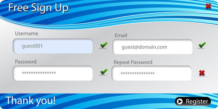 Registration Sign Up Form Menu