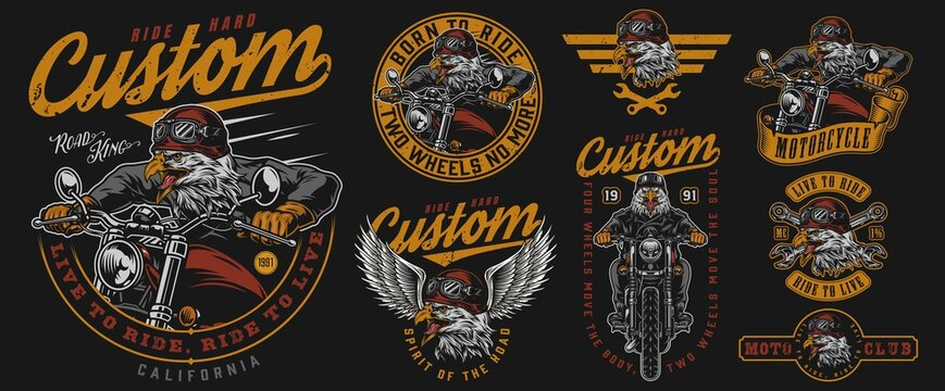 Custom motorcycle vintage designs composition