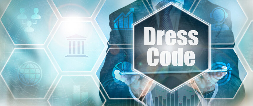 A Dress Code business word concept on a futuristic blue display.