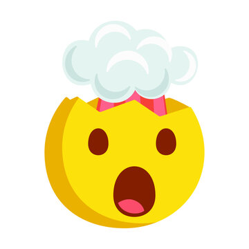 Exploding Head Emoji Icon Illustration. Mind Blown Face Symbol Emoticon Design Doodle.