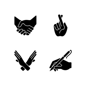 Hand gestures black glyph icons set on white space. Business deal, handshake. Crossed arms and fingers. Body language. Mutually beneficial deal. Silhouette symbols. Vector isolated illustration