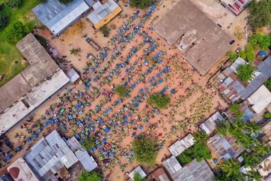 Aerial view of a few people working at Kansas mango Bazar, the largest mango market in the world, Shibganj province, Bangladesh.