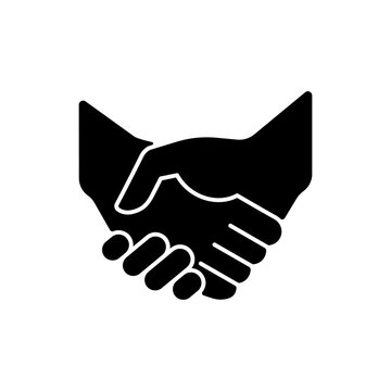 Handshake black glyph icon. Successful business deal. Partnerships. Mutually beneficial deal. Reaching agreement. Gesture of courtesy. Silhouette symbol on white space. Vector isolated illustration