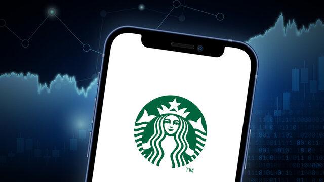 Starbucks stock market vector illustration, with iPhone splash screen. Neutral blue.