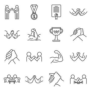 Sport arm wrestling icons set. Outline set of sport arm wrestling vector icons for web design isolated on white background