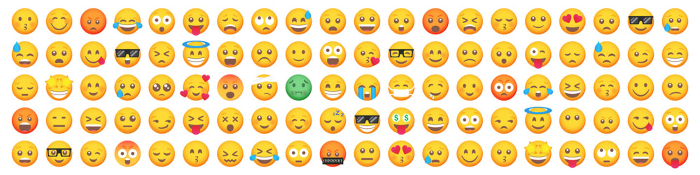 Big set of 100 emoticon smile icons. Cartoon emoji set. Vector emoticon set