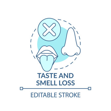 Lossing taste and smell concept icon. Respiratory illness idea thin line illustration. Symptoms. Infection disease and pandemic. Vector isolated outline RGB color drawing. Editable stroke