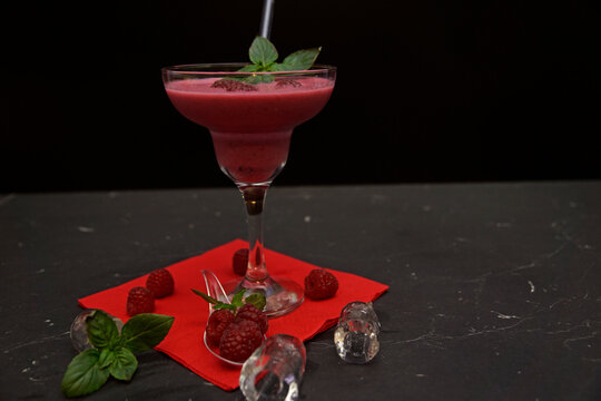 pineapple raspberry yogurt cocktail with rum