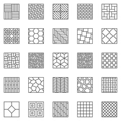 Obraz Flooring outline icons set. Vector Floor Materials - parquet, laminate, plank, floor tiles concept linear symbols collection - fototapety do salonu