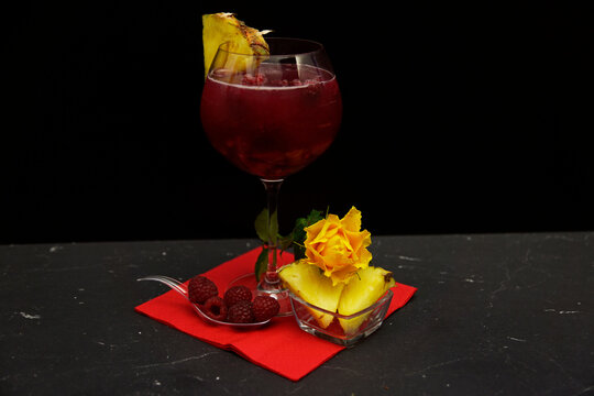 raspberry and pineapple gin cocktail