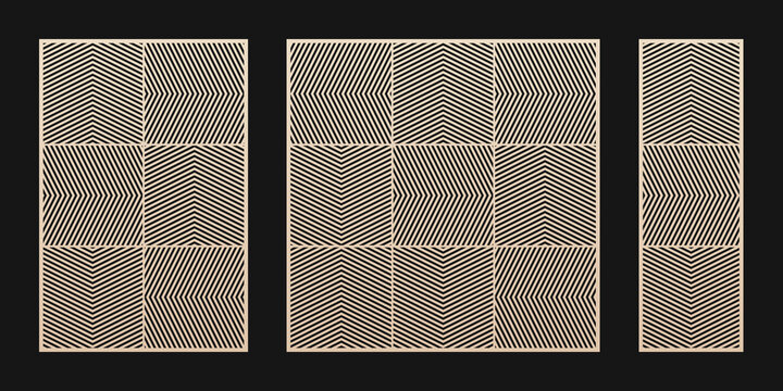 Laser cut panel set. Vector template with abstract geometric pattern, zig zag lines, chevron, grid, squares. Decorative stencil for laser cutting of wood, metal, paper. Aspect ratio 2:3, 1:1, 1:3