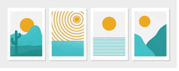 Abstract contemporary landscape illustration design set, with Mid century modern concept minimalist art design. for art print, wall decor, book, covers, posters, flyers, magazines. vector design