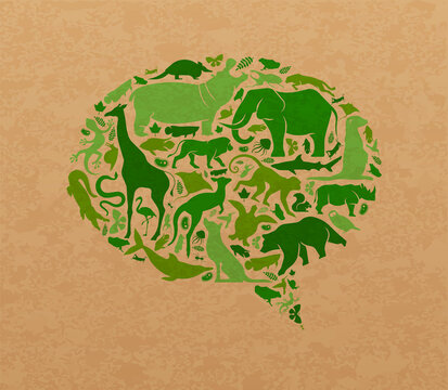 Green wild animal recycled paper speech balloon