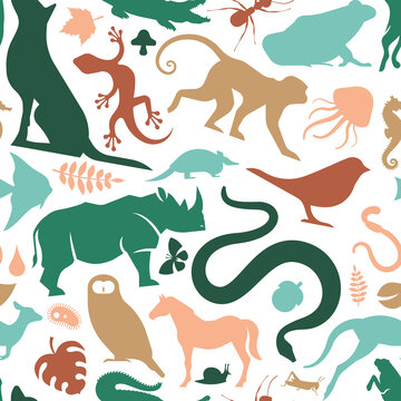 Colorful wild animal icon seamless pattern