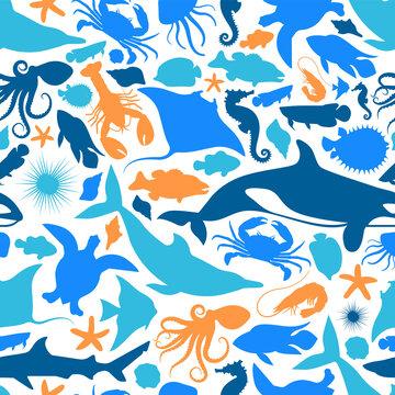 Blue marine fish animal icon seamless pattern