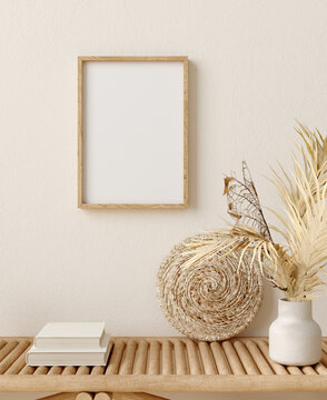 Mock up frame in home interior background, room with minimal decor, 3d render