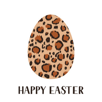 Easter egg leopard or cheetah prints isolated on white. Easter celebration typography poster. Vector template for invitation, greeting card, flyer, banner, etc