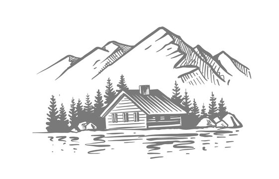 Landscape with large mountains. Nature sketch with house and river. Hand drawn ink illustration