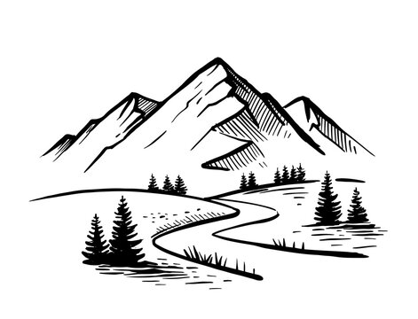 Landscape with large mountains. Nature sketch with road and fir trees. Hand drawn